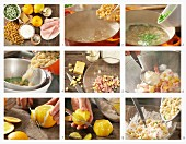 Pasta salad with ham, peas and orange being made