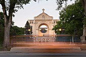The district of Saint-Boniface and the main façade of the St. Boniface Cathedral in Winnipeg in the province of Manitoba, Canada