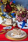 Festlicher Opera Cake mit essbarem Goldglitter