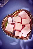 Pink Marshmallows on a heart shaped plate