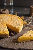 Lemon cheesecake, sliced