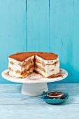 Tiramisu cake with peaches