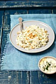 White cabbage salad with walnuts, cream and mayo