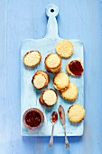 Biscuits with strawberry jam
