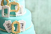 Three-tier 'Photo Frame' buttercream cake with fondant icing