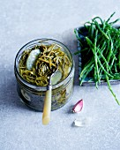 Preserved salicornia with lemon and garlic