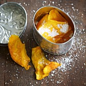 Home-dried mango with desiccated coconut