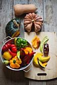 Ingredients for a dish with pumpkin and peppers