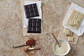 Homemade sugar-free dark carob and white chocolate with almond butter