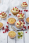 Pistachio cupcakes with honey buttercream and redcurrants