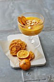 Sugar-free poppy seed and cinnamon dessert with orange slices