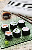 Maki with salmon, cucumber and surimi (Japan)