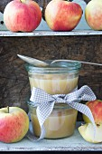 Apple sauce on a shelf