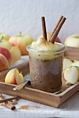 Mousse au chocolat with apple sauce