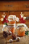 Sweet potato and pear jam in a jar as a Christmas gift