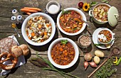 Five different stew dishes