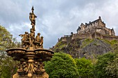 Ross Fountain with Edinburgh Castle in the background, Edinburgh, Scotland