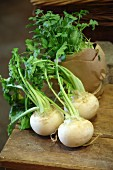 Fresh turnips on a wooden table
