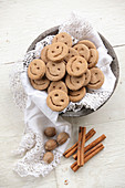 Spiced spelt biscuits with smiley faces