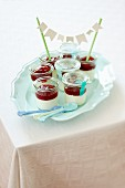 A quark dessert with cherries for a party
