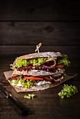 Double-decker BLT sandwich with mayonnaise