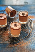 Chocolate mousse in small glasses