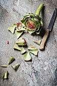 Baby Ripe Organic Artichokes on the rustic background
