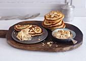 Buttermilk pancakes with peanut and cinnamon cream