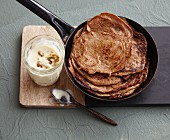 Vegan date pancakes with silken tofu cream