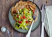 Vegetarian pancake with pointed cabbage and garam masala