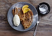 Cappuccino and chocolate crêpes with a white chocolate cream quenelle