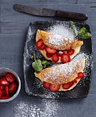 Fluffy omelette with fresh strawberries