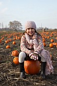 Portrait of Girl in Pumpkin Patch
