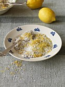 Vegan muesli seasoning made from coconut and lemon peel