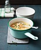 Parsnip and potato soup with shrimps