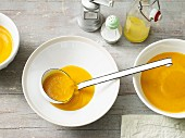 Apple and Hokkaido pumpkin soup with orange juice