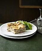 Mushroom lasagne with cold-smoked ham