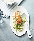 Fried fillet of salmon on stewed cucumber with dill