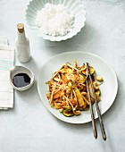 Fried Asian vegetables with cashew nuts and bean sprouts