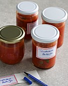 Tomato sauce in screw-top jars