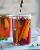 Mixed carrots pickled in white wine vinegar with coriander