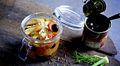 Preserved fennel with tomatoes and olives