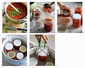 Tomato sauce with herbs being put into jars