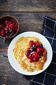 Vegan quinoa pancakes with berry compote (soya-free)