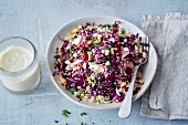 Vegan red cabbage tabbouleh with cashew yoghurt (soya-free)