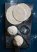 Vegan tarte flambée or pizza dough ready for freezing