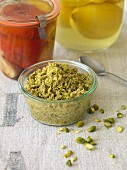 Vegan nut topping with pistachios and cashews