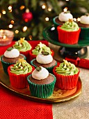 Christmas Tree And Christmas Pudding Cupcakes