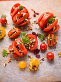 Tomato salad with parsley and cress