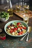 Rosemary pasta with fried tomatoes, feta and olives